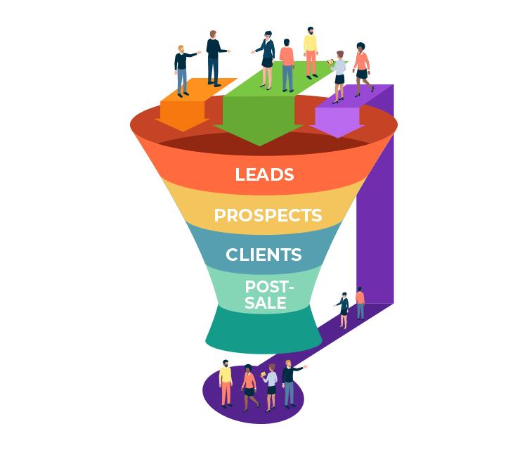 illustration on leads funnel