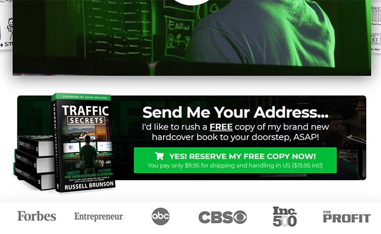 traffic secrets landing page with call to action button