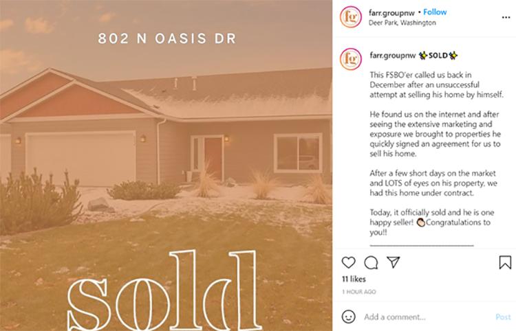 instagram post on sold real estate property
