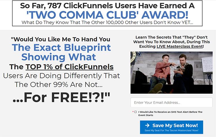 clickfunnels secrets masterclass webinar landing page