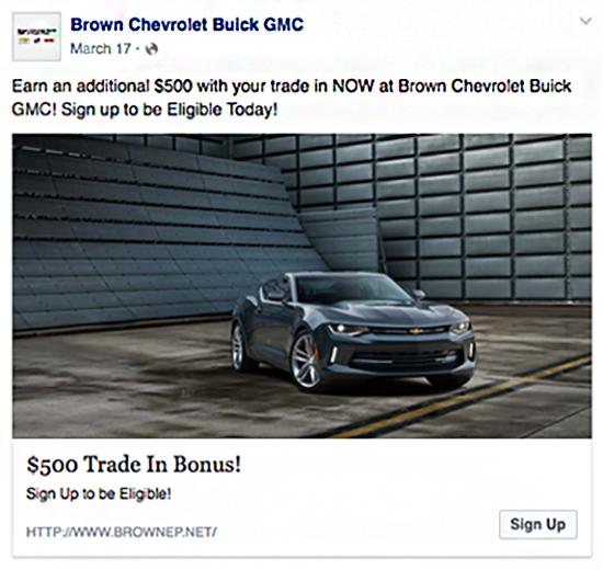 car dealer facebook post advertising example