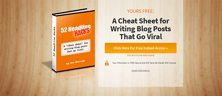 squeeze page example from 52 headline hacks