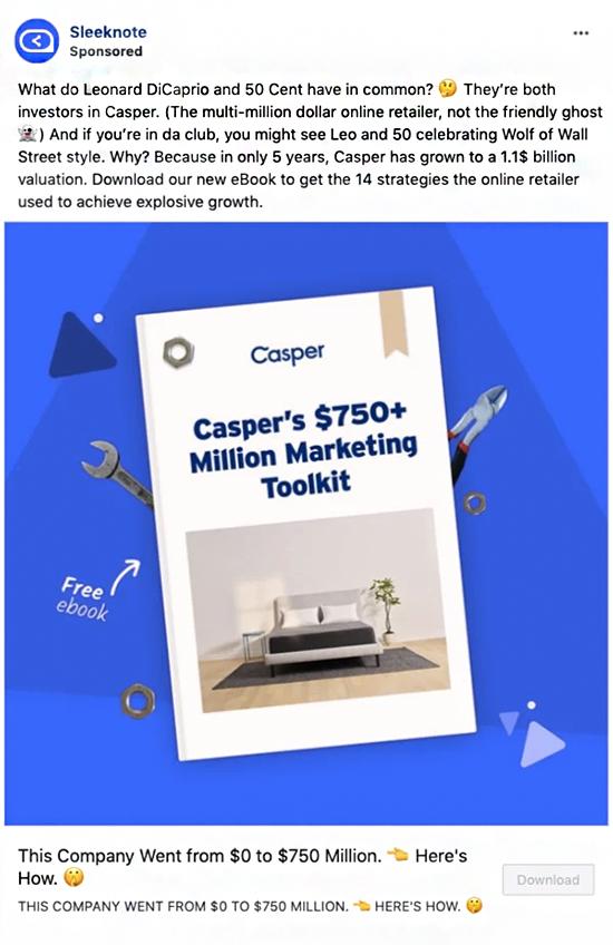 free ebook sponsored facebook post advertising example