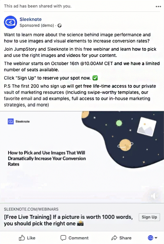 free webinar sponsored facebook post advertising example