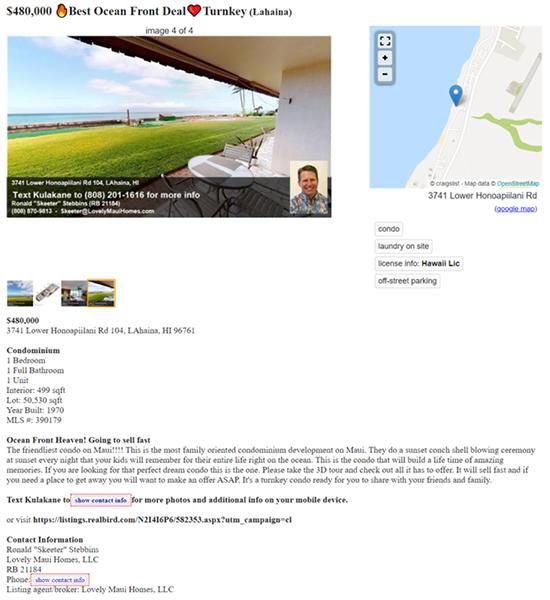 ideal real estate ad page on craigslist