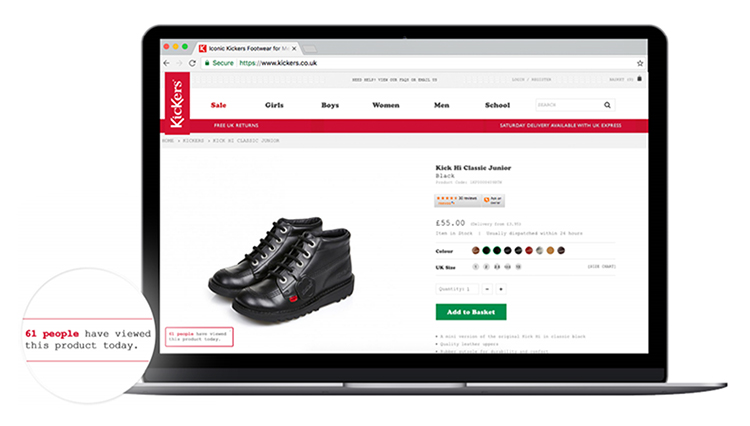 kickers product page