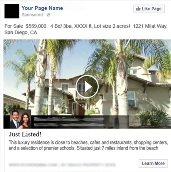 real estate facebook video ad