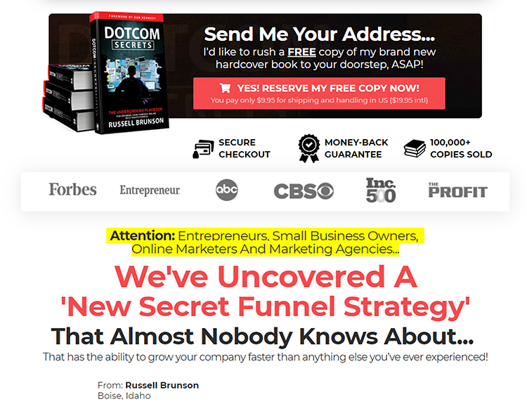dot com secrets landing page with video