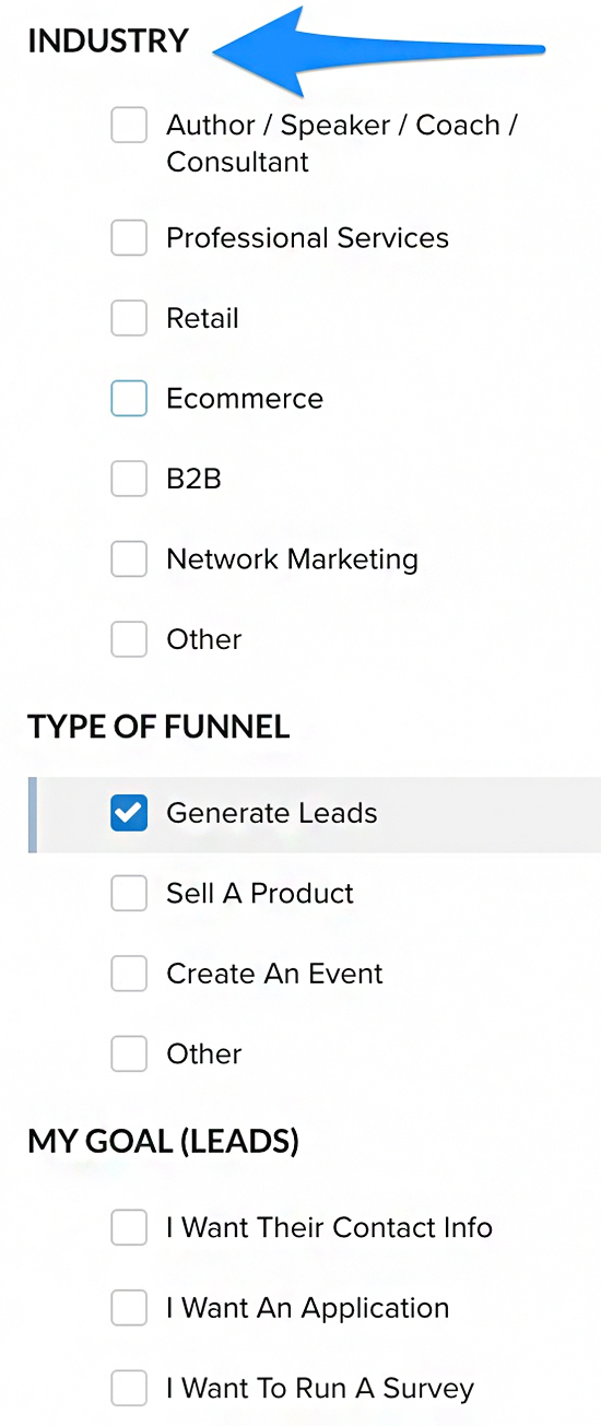 industry types for different types of funnels