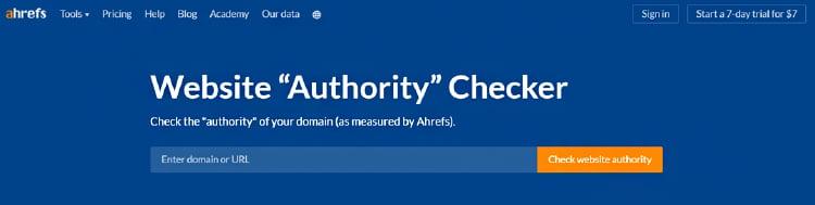 ahrefs website authority checker option