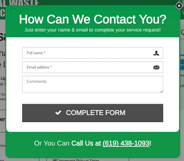 pop up box with contact form