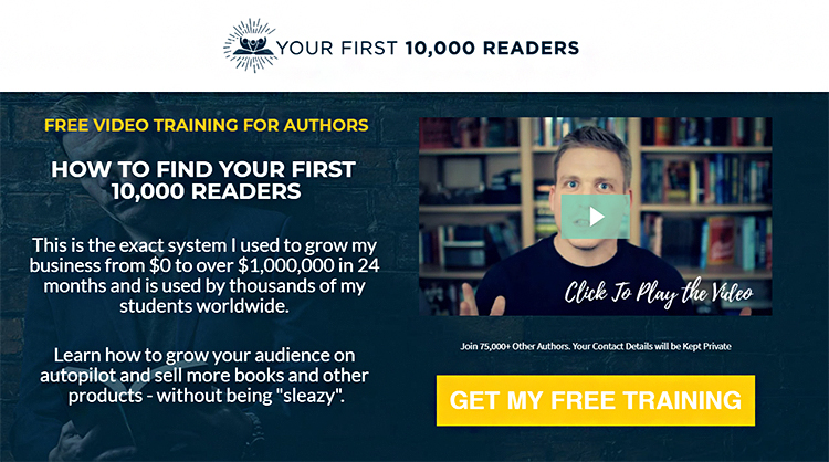 How to find your first 10,000 readers lead magnet landing page example