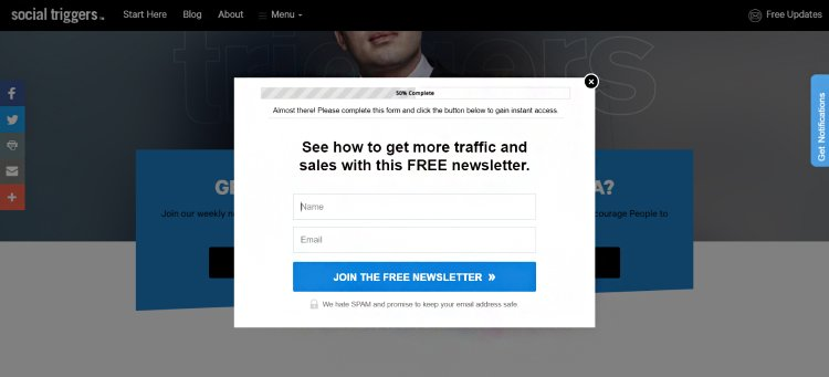 free newsletter opt-in form feature box