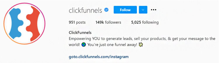 ClickFunnels Instagram post call to action close up.