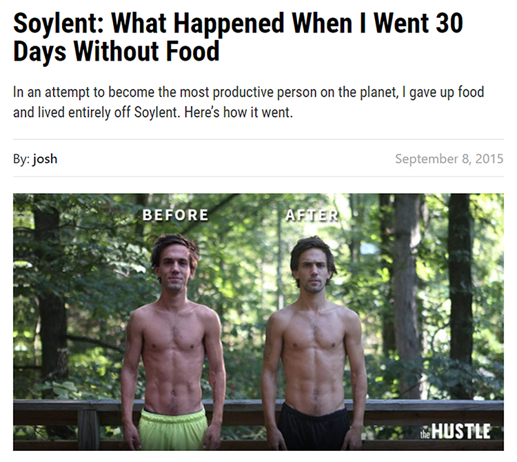 30 days without food, before and after image.