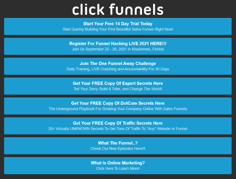 ClickFunnels Instagram post multi link call to action options buttons.