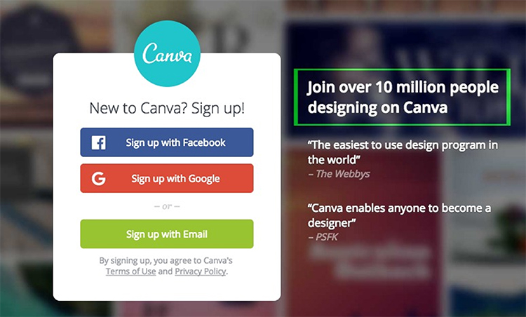 Social proof popup option to sign into canva.com with your socail media account.