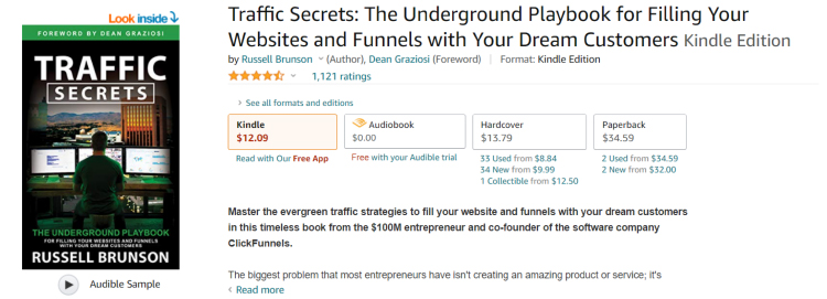 ClickFunnels Traffic Secrests book Amazon order page.