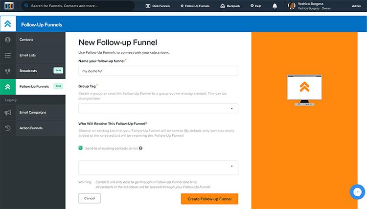 ClickFunnles follow-up funnel menu.