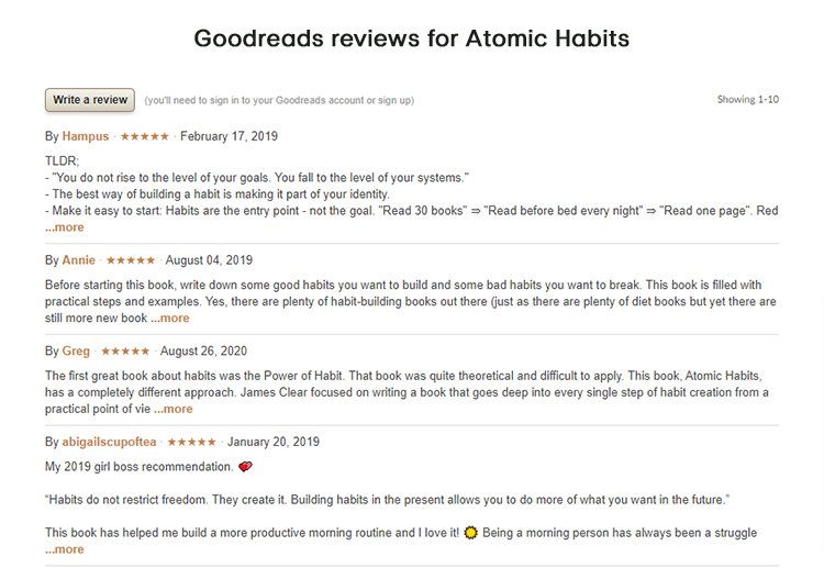 Filtered 5 star reviews example.