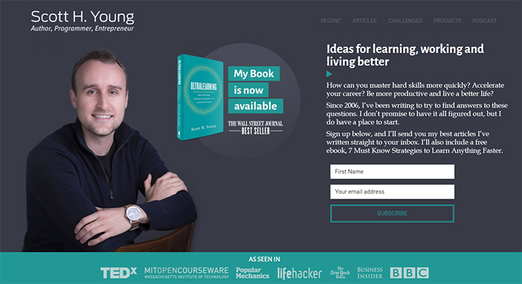 Ultralearning website homepage screenshot.