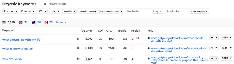 Keyword list dashboard with analytics.