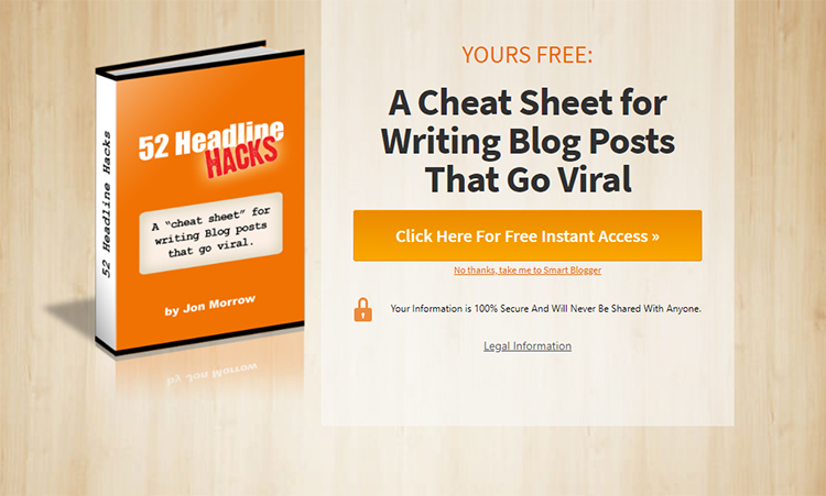 52 Headline Hacks, book landing page example.