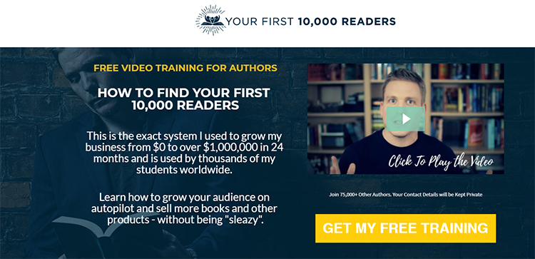 Your First 10,000 Readers, book landing page example.