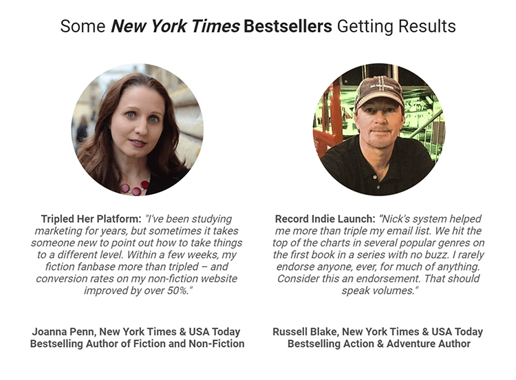 Social proof in the form of testimonials from two bestselling authors with headshot photos.