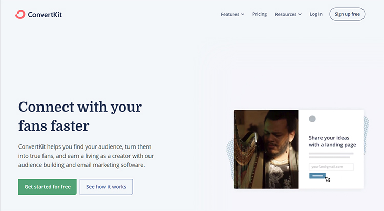 Convertkit website homepage screenshot.