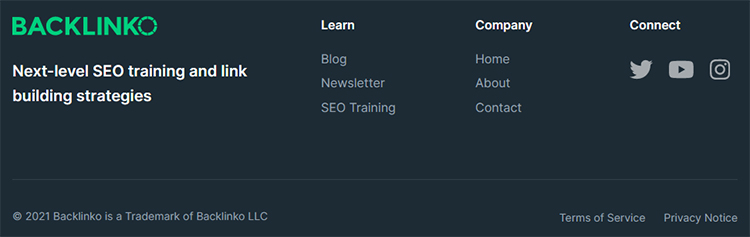 Backlinko homepage below the fold example.