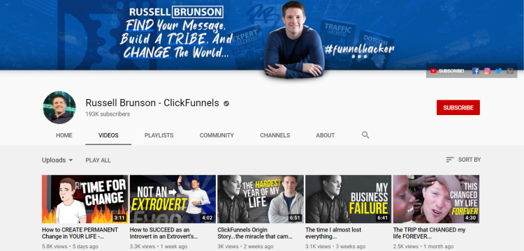 ClickFunnels Youtube homepage.