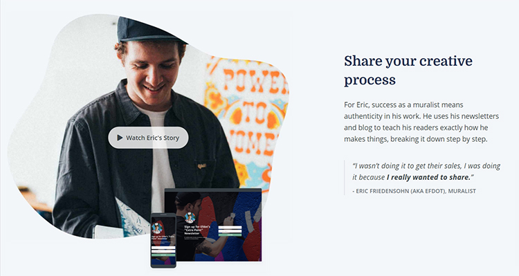 Convertkit homepage testimonial from a muralist.