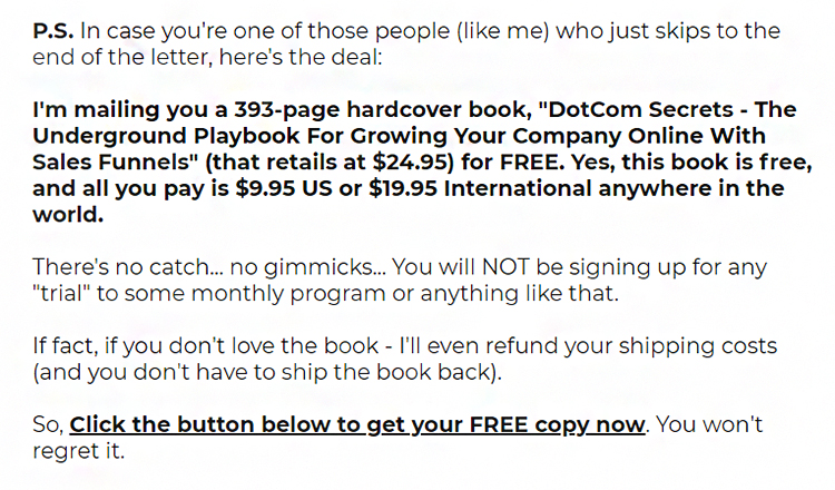 ClickFunnels, DotCom Secrets, P.S. section.