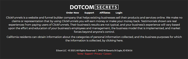 ClickFunnels, DotCom Secrets, webpage footer with links to resources.