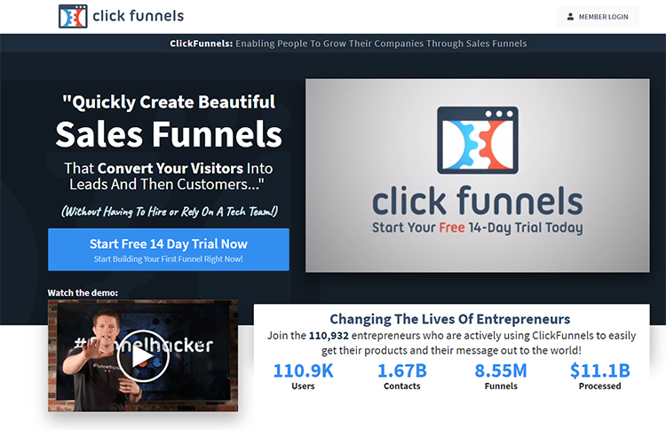 ClickFunnels landing page as your website homepage example.