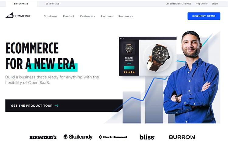 BigCommerce homepage, customers tab example.
