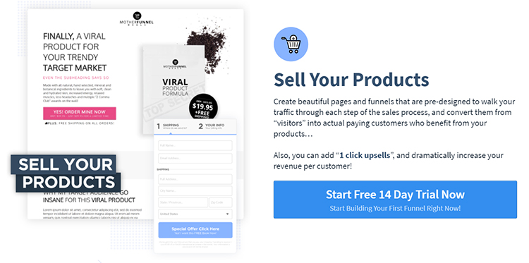 ClickFunnels website homepage explaining details about selling your products.