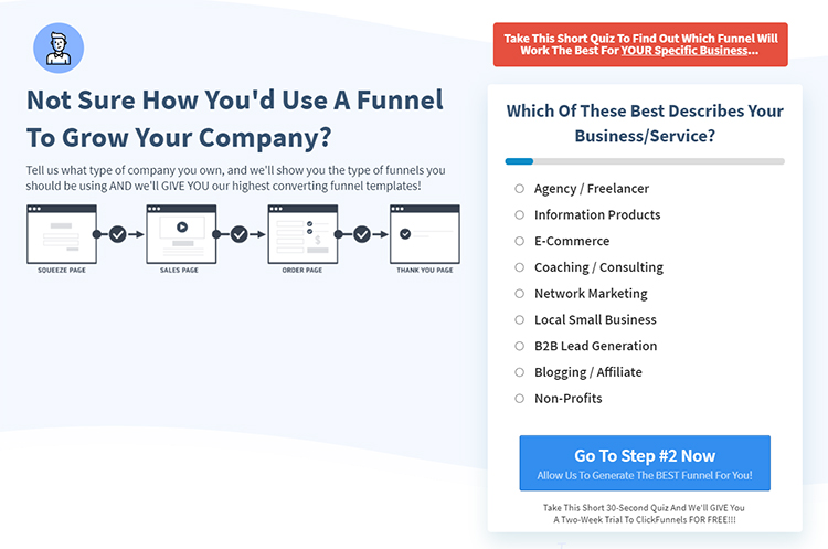 ClickFunnels website homepage explaining details about using sales funnels.
