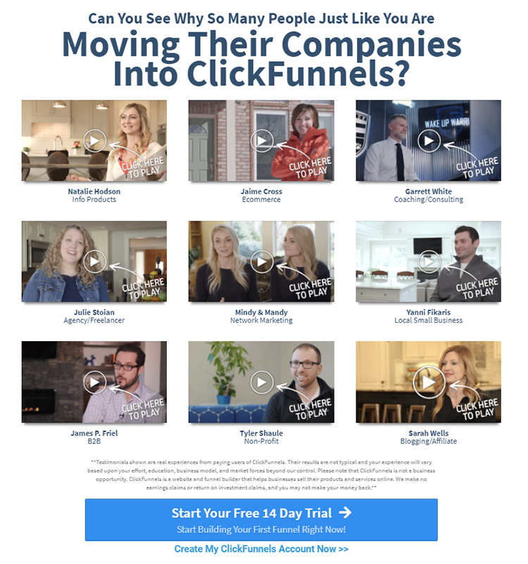 ClickFunnels website homepage video testimonials with a call to action.