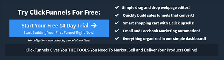 ClickFunnels website homepage free trial call to action.