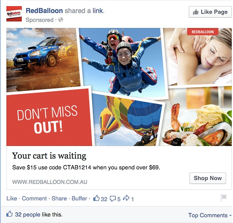 Facebook paid follow-up retargeting ad example.