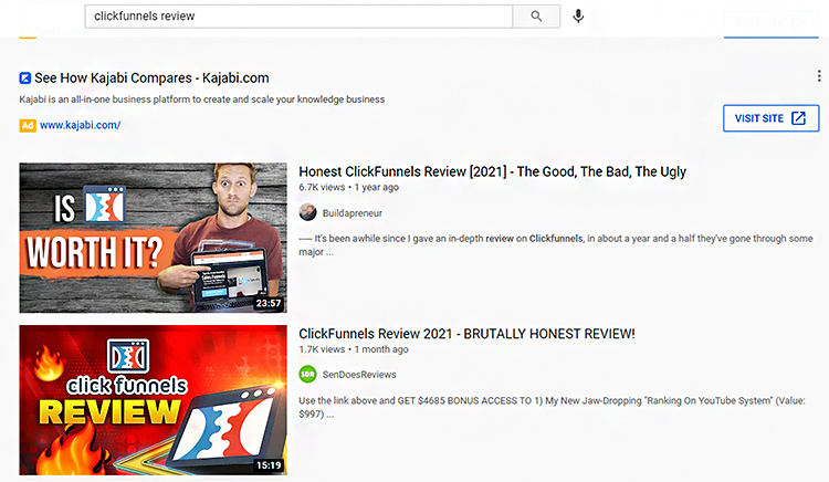 Youtube affiliate marketing ClickFunnels review video thumbnails.