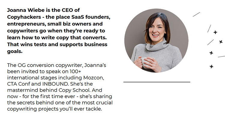 Joanna Wiebe, Copyhackers bio example.
