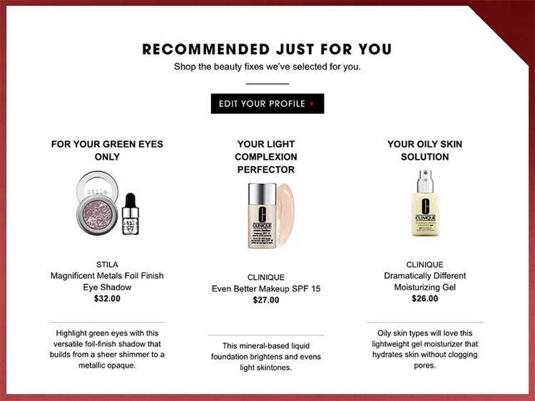 Recommended products just for you email example.