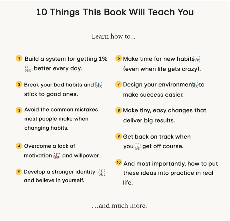 Sales page description list of 10 things that a book will teach you.