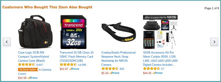 Amazon, customers who bought this item also bought, recommendation products example.