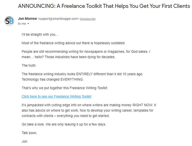 Freelancer toolkit follow-up daily email example.