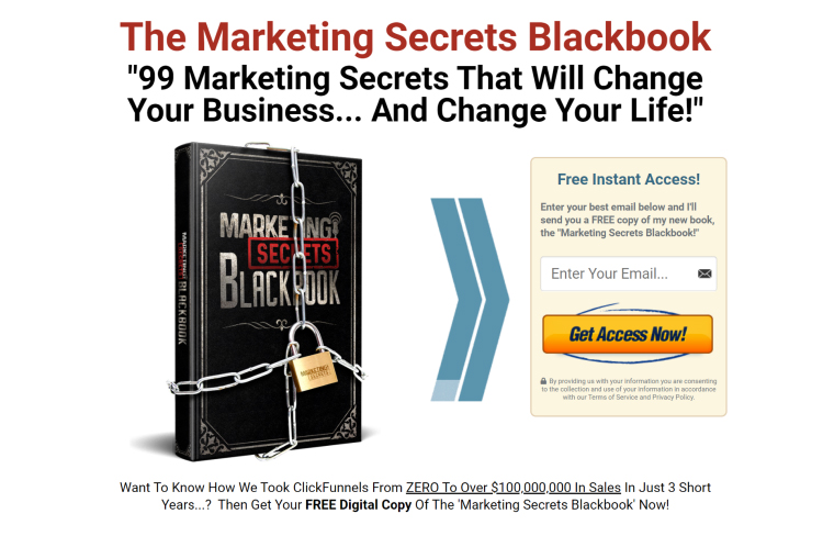 ClickFunnels, Marketing Secrets Blackbook, get access now call-to-action example.