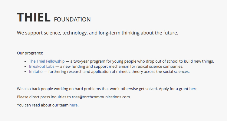 Thiel Foundation, high performance, functional website that converts online traffic.